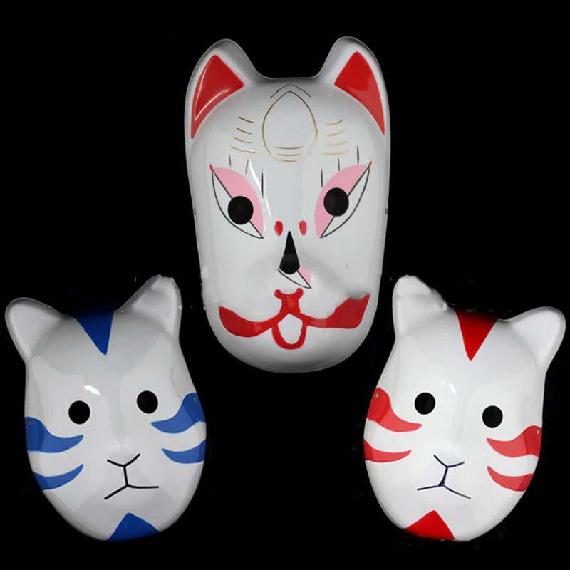 Naruto Hatake Kakashi Anbu Japanese Fox Mask Animal Hand-Painted Cartoon Face Mask Demon Kitsune Cosplay Masquerade Carnival (10)