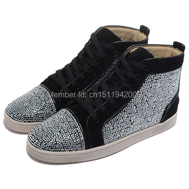 bottom shoes louis flat white strass mens high top