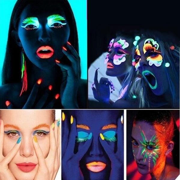 2017 20 ml UV Glow Néon Visage Peinture Pour Le Corps Fluorescent Lumineux  Fluo Irradient luminescent Parti Festival Décoration Partie Maquillage