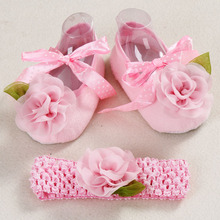 Christening baptism newborn baby girl shoes headband set,toddler infant fabric baby booties for newborn girl(China (Mainland))