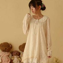 Buy Japanese Spring Women Lace Peter Pan Collar Long Sleeve Sweet Medium Princess Laciness Cute Lovely Lolita Dress Mori Girl C208 for $15.94 in AliExpress store