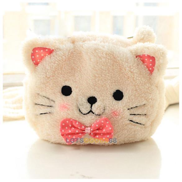LS4G 2015 New Cute Cartoon Cat Shape Soft Plush Cosmetic Makeup Bag Pouch Pen Pencil Case(China (Mainland))