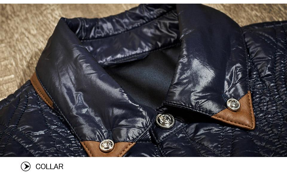 Скидки на Зимнее Пальто Мужчины Марка Одежды Британский Джентльмен Pattern Кожа Шить Тонкий Хлопок Пальто Мужские Зимние Куртки И Пальто