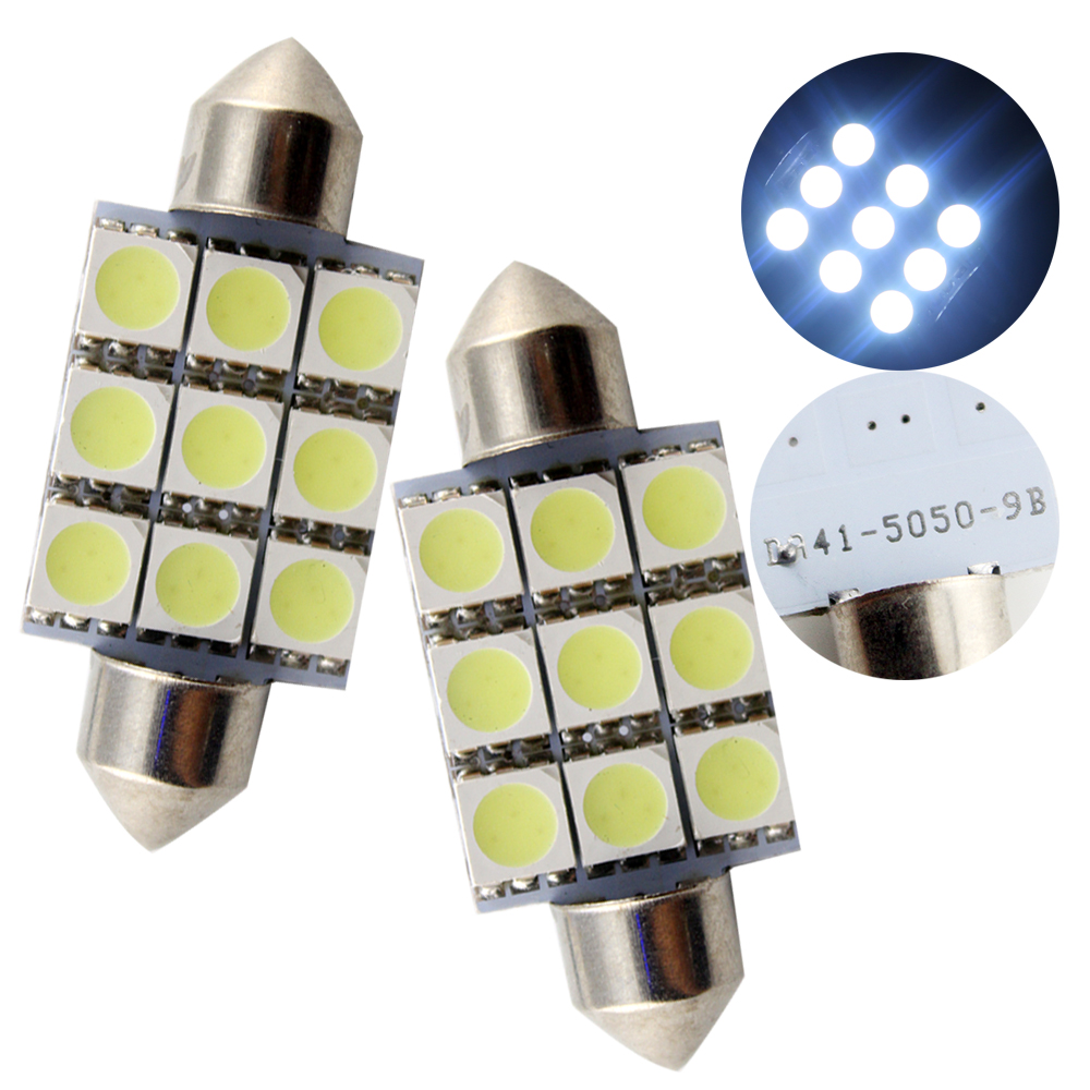 50pcs/lot 41MM 9SMD 5050 Automotive LED Light Festoon Dome Wedge Light Car Lamp DC12V White/Blue/Red/Amber/Green(China (Mainland))