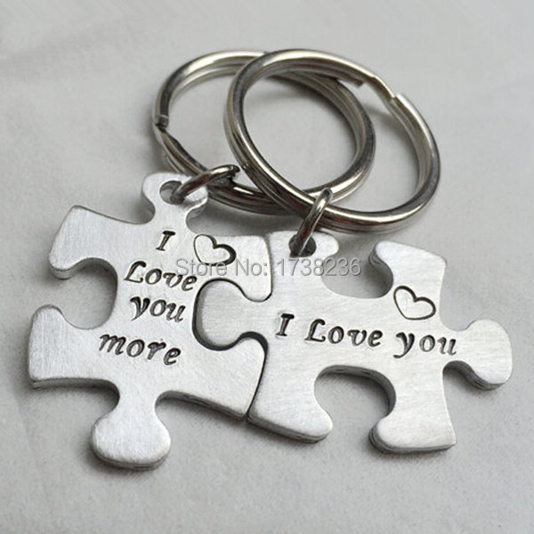 I Love You I Love You More Couples keychain Personalized Couples Keychain Puzzle Piece His Hhers(China (Mainland))