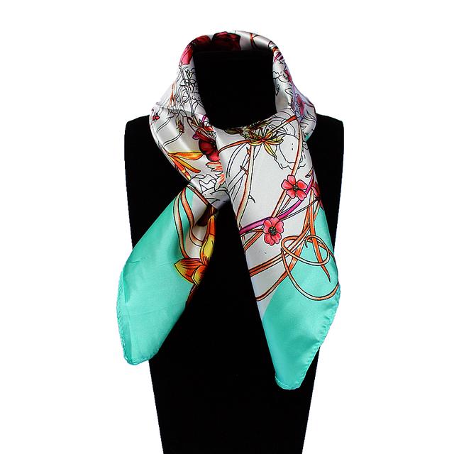 60 см * 60 см Женщины 2016 Новая Мода Имитационные Шелковый Марка Весенний Цветок и Бабочка Печатные Площади Шарф Горячие продажа