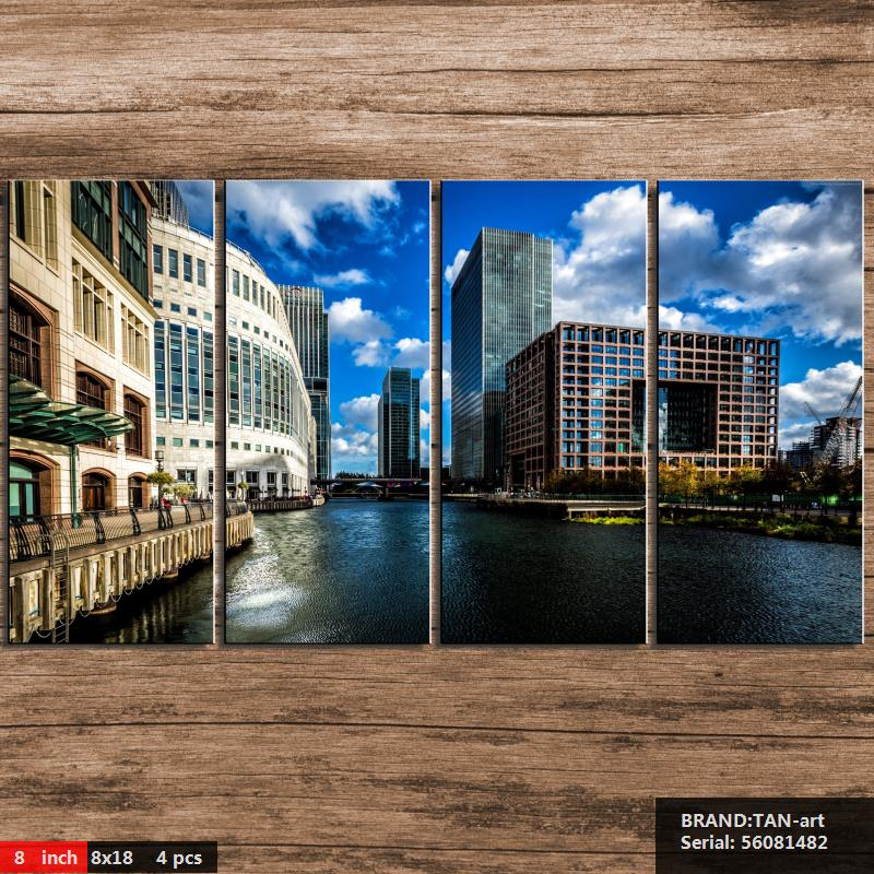 Canary Wharf Landscape Modern oil Painting Drawing art Spray Unframed Canvas wax action handmade picture hologram wax56081482(China (Mainland))