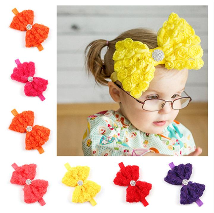 Wholesale price european baby big bow headband children girls metal hairband ornament 12 color 24pcs/lot free shipping(China (Mainland))