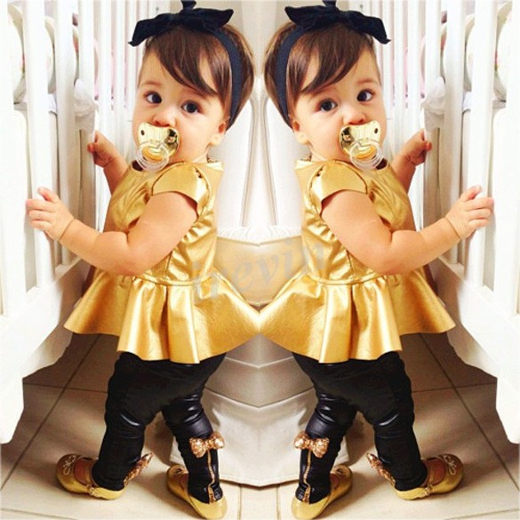 Baby Girl Suit Shirt Dress + Leggings Pants Casual Short Sleeved 2 Pieces(China (Mainland))