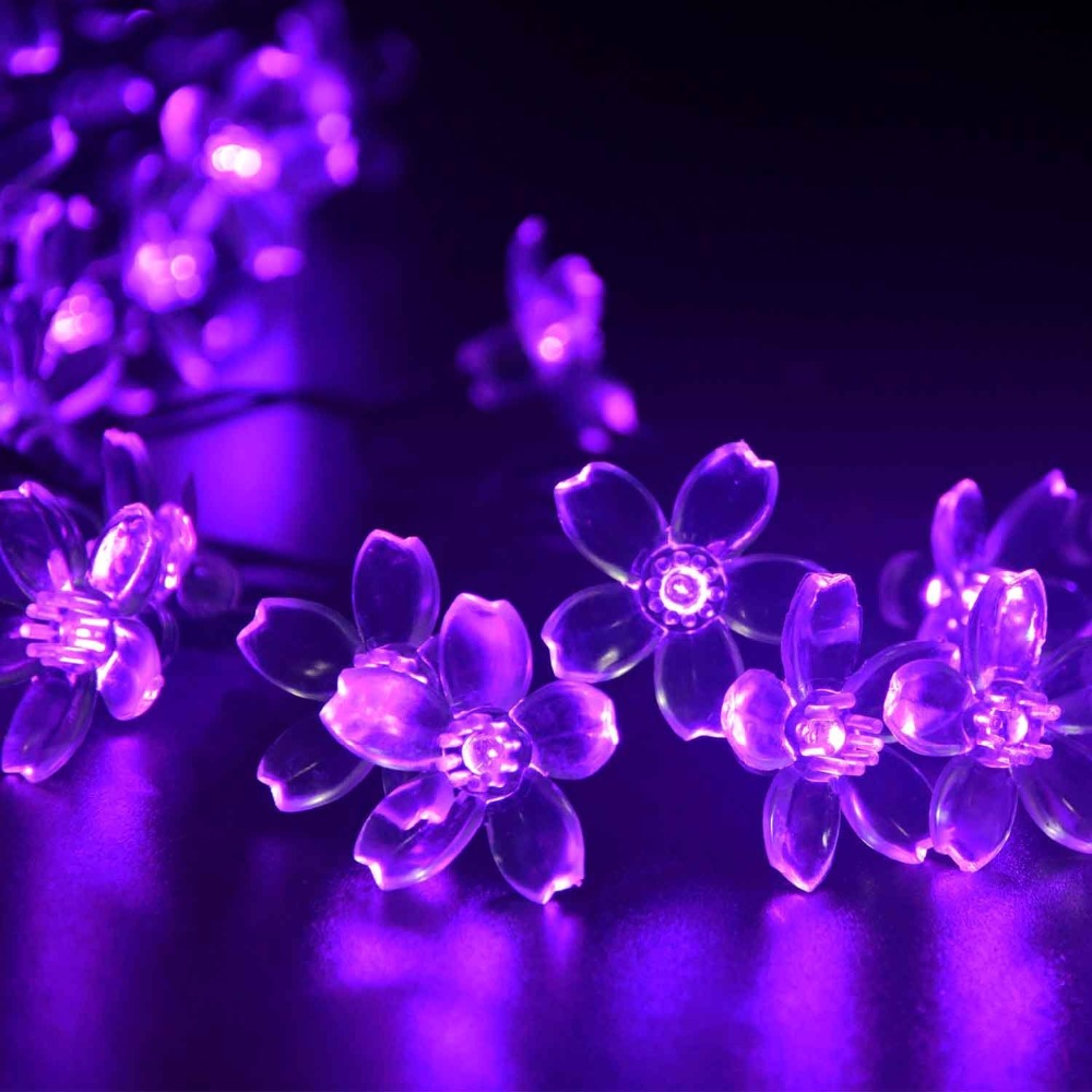 New Hot Solar Fairy String Lights 21ft 50 LED Purple Blossom Decorative Gardens, Lawn, Patio, Christmas Trees, Weddings, Parties(China (Mainland))