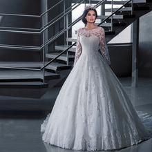 Vestidos De Novia 2016 Long Sleeve Lace Wedding Dress Ball Gown Wedding Dresses 2016 Robe De Mariage Lebanon Wedding Gowns(China (Mainland))