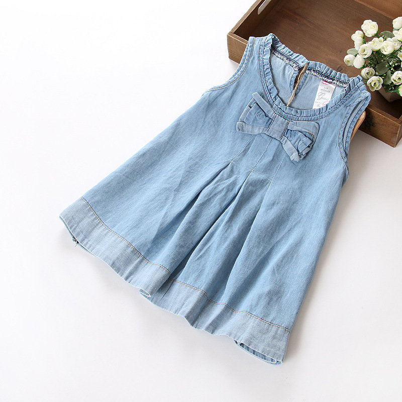 2015 Vestidos Jeans Infantis Wholesale Summer Girls Cowboy Sweet Bow Dress Denim Casual Baby Clothing<br><br>Aliexpress
