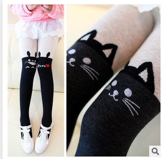 B024 2015 New Knee-high Panty-hose Children Autumn Thick Cat Tights Girls Color Matching Panty-hose(China (Mainland))