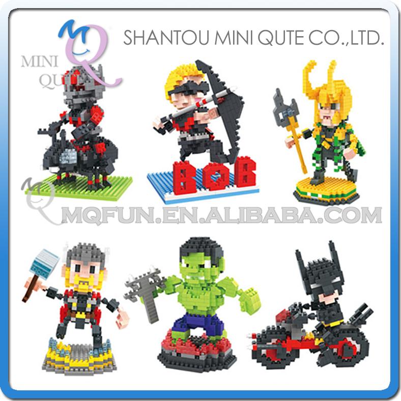 Wholesales 96 pcs/lot Mix 10 models Mini Qute BOB Marvel Avenger Super hero Spiderman building block brick educational toy<br><br>Aliexpress