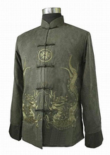 Special Offer Green New Spring Chinese Men's Fleece Embroidery Jacket Coat hombres chaqueta abrigo Size S M L XL XXL XXXL M1146(China (Mainland))