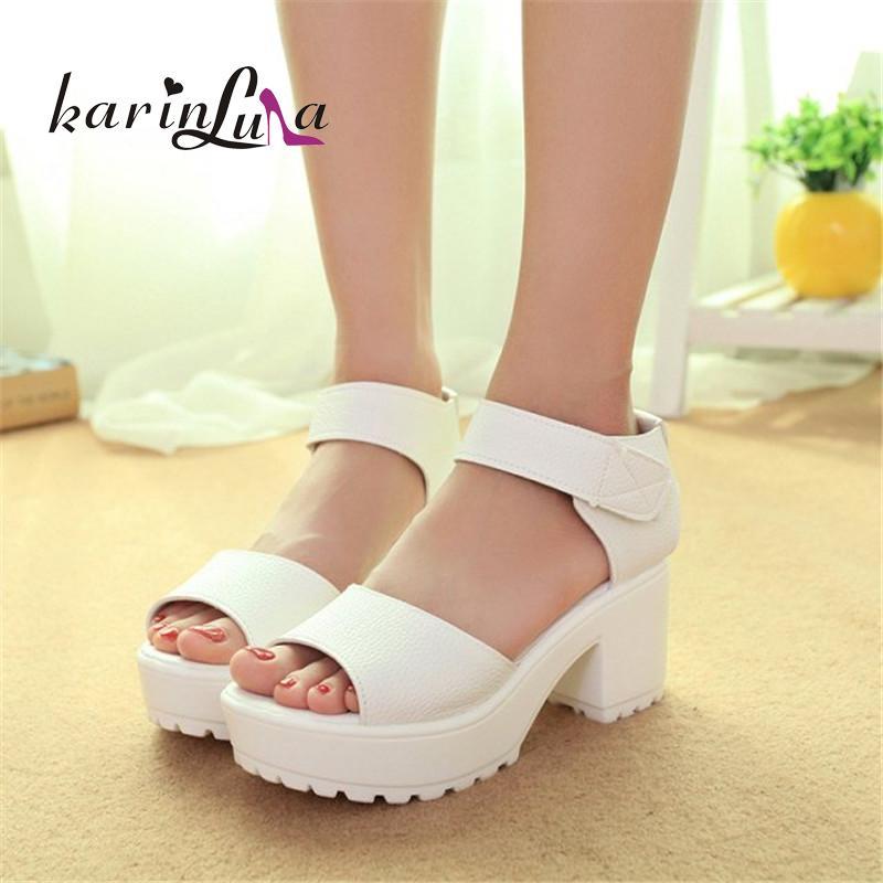 2016 hot sale open toe square high heels hook &amp; loop solid platform women shoes concise plain ankle strap black white sandals<br><br>Aliexpress