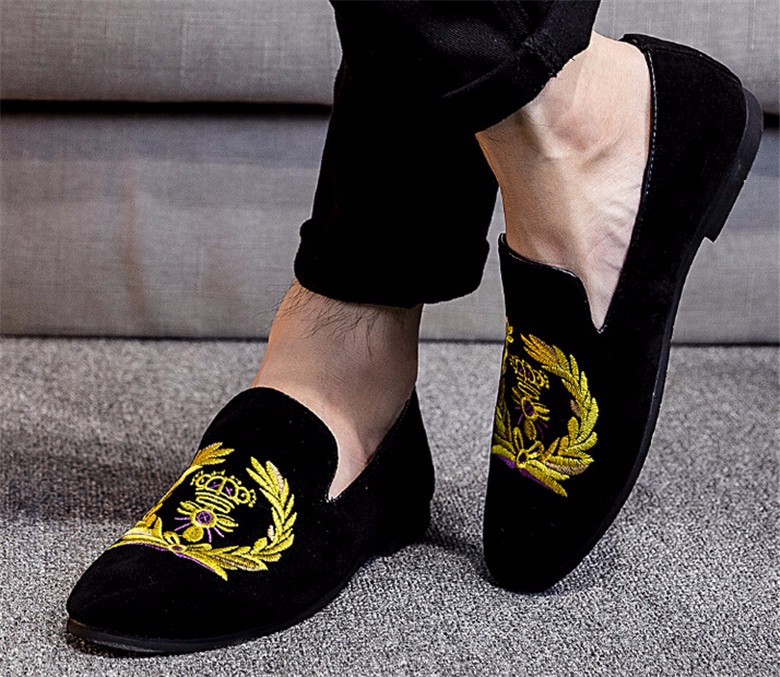2016 British Style Pointed Toe Formal Shoes Genuine leather shoes men's Loafer shoes Blue Black Embroidery loafer Men Flat shoes