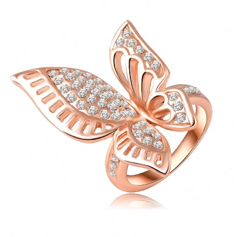 18 к розовое золото покрытие классические красивая бабочка для помолвки с