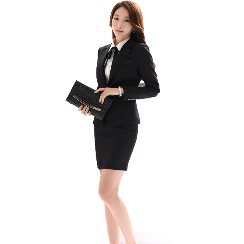 Gray black skirt suit new 2016 female office uniform for Office uniform design 2016