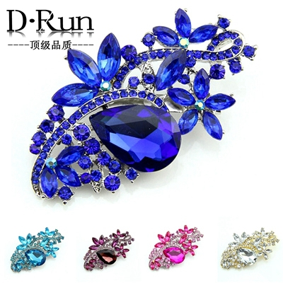 Large size New High Quality Big Blue Brooches crystal pins Acrylic for wedding bouquet(China (Mainland))