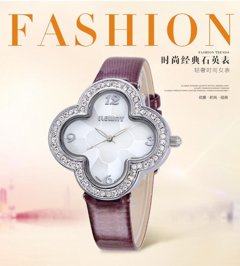 Г-Жа ileway часы тенденции моды студентов смотреть водонепроницаемый алмазный бизнес дамы моды кварцевые часы