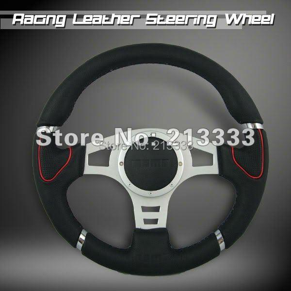 NEW 340mm Millenium II Genuine Leather Racing Sport Steering Wheel 13064SLIVER(China (Mainland))
