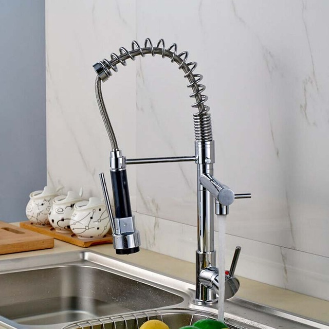 Best Quality Wholesale And Retail Chrome Solid Brass Water Power Kitchen Faucet Swivel Spout Pull Out Vessel Sink Mixer Tap
