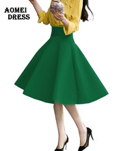 High Waist Pleat Elegant Skirt Green Black White Knee-Length Flared Skirts Fashion Women Faldas Saia 5XL Plus Size Ladies Jupe(China (Mainland))