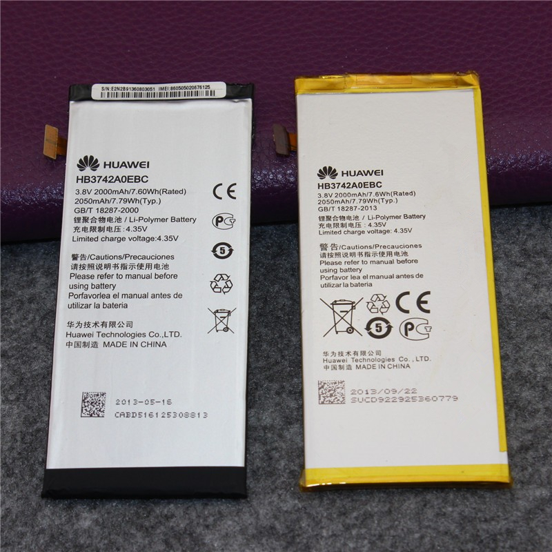 100% Original Genuine 2000mAh HB3742A0EBC Battery For Huawei Ascend G6 / Ascend P6 P6-U06 p6-c00 p6-T00 Battery free shipping