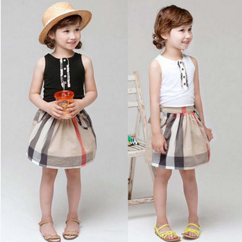 fashion 2016 summer kids baby girls clothes Girls plaid