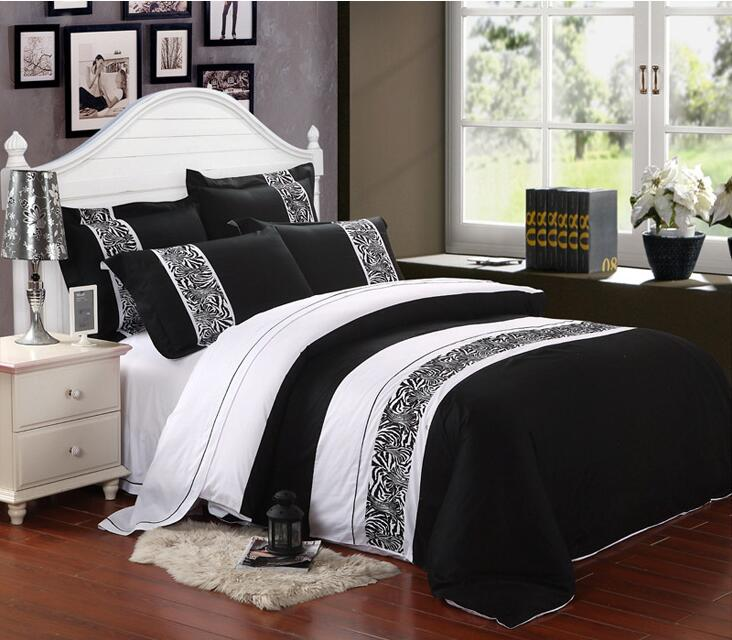 Modern brief black and white embroidered home hotel bedding set 4pcs 100% cotton king queen size blanket/duvet cover kit/3710(China (Mainland))