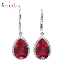 Brand New 8.4ct Pigeon Blood Red Ruby Drop Earrings Dangle 925 Solid Sterling Silver Engagement Wedding Set Best Gift For Women(China (Mainland))