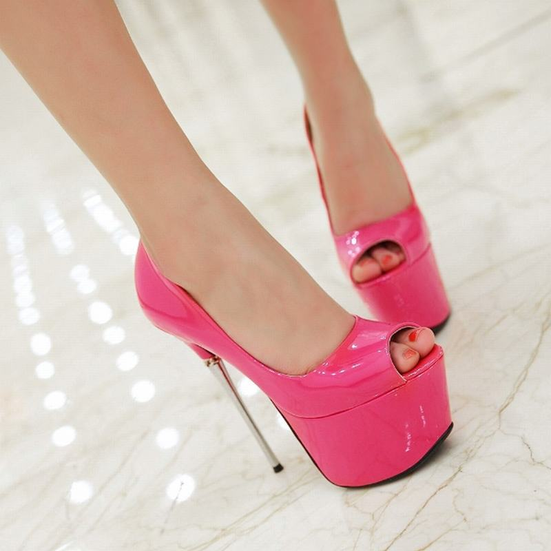 Fashion Super High Heels Stiletto Women Pumps Sexy Peep Toe Spool Heel Thick Platform Shoes Size 34-43 Bar Women Shoes 7 Colors