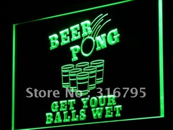 i939-g Beer Pong Get Your Balls Wet Neon Light Sign