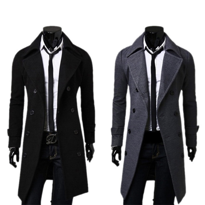 Novel designs Fashion Winter Warm Men Trench Double Breasted Overcoat men's Long coat Outwear(China (Mainland))