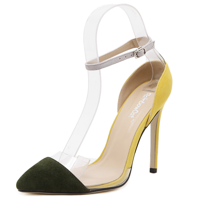2016 new sexy fashion tip toe cool transparent film color shallow mouth foot ring hollow buckle word stiletto heels shoes(China (Mainland))