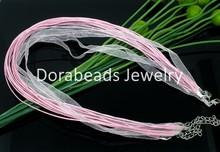 """20 Pink Organza Ribbon Waxen Cord Necklaces 17"""" (B06107)8seasons(China (Mainland))"""