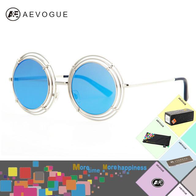 Aevogue с чехол новые круглый металлический каркас бренд винтаж солнцезащитные очки женщин высокое качество многоцветный объектив солнцезащитные очки UV400 AE0186