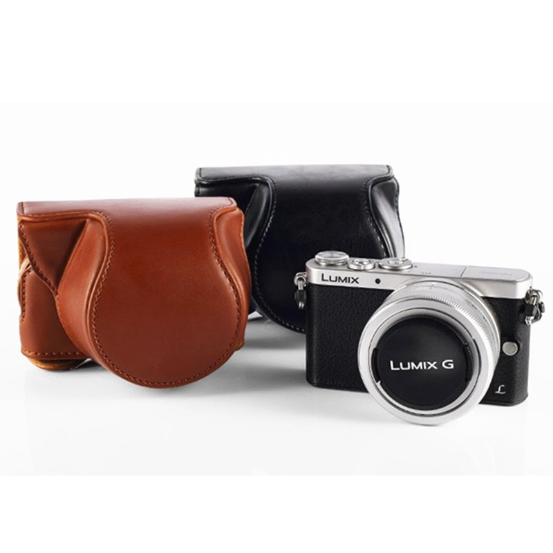 New High Quality Leather Camera Cover Case Bag for Panasonic lumix GM1 GM2 GM5 bag Free Shipping(China (Mainland))