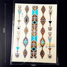 1PC Fashion Flash Gold Blue Metallic Arrow Tattoos Indian Bracelet Design Men Women Armlet Waterproof Temporary Tattoo Stickers(China (Mainland))