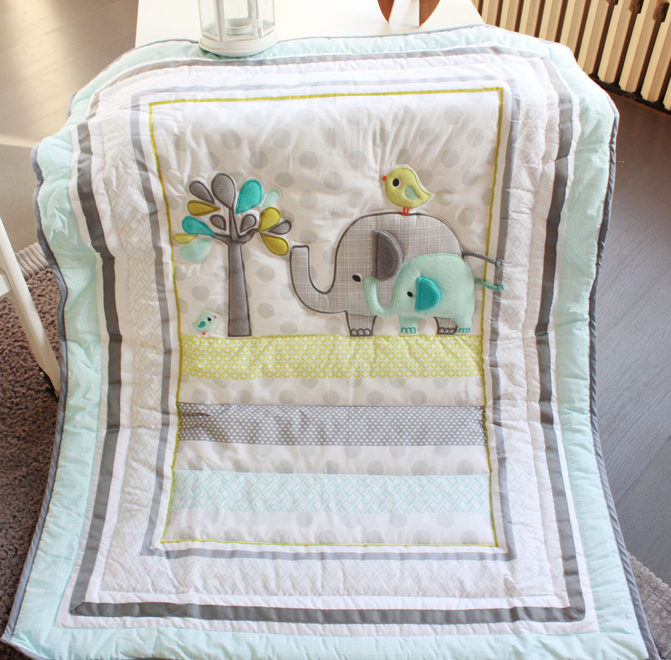 Elephants 4pc Baby Nursery Crib Bedding Set Boy Cot Set