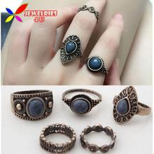 Vintage Ring Sets Fashion Designer Antique Alloy Nature Blue Stone 5pcs Midi finger Rings for Women conjuntos de anillo(China (Mainland))