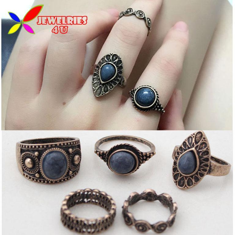 Vintage Ring Sets Fashion Designer Antique Alloy Nature Blue Stone 5pcs Midi finger Rings for Women conjuntos de anillo(China (Mainland))
