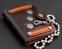 "Men's Biker Rocker Cowboy Three Tag Brown Leather Bifold Wallet With 22"" chain(China (Mainland))"