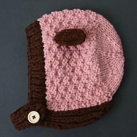 Newborn Girl Pink Bonnet Pink Crochet Hat Newborn Photo Prop(China (Mainland))