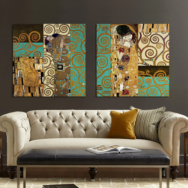 2015 Artists Gustav Klimt The Kiss and The Tree of Life The new design canvas wall art form Canvas Art Painting home Wall decor(China (Mainland))