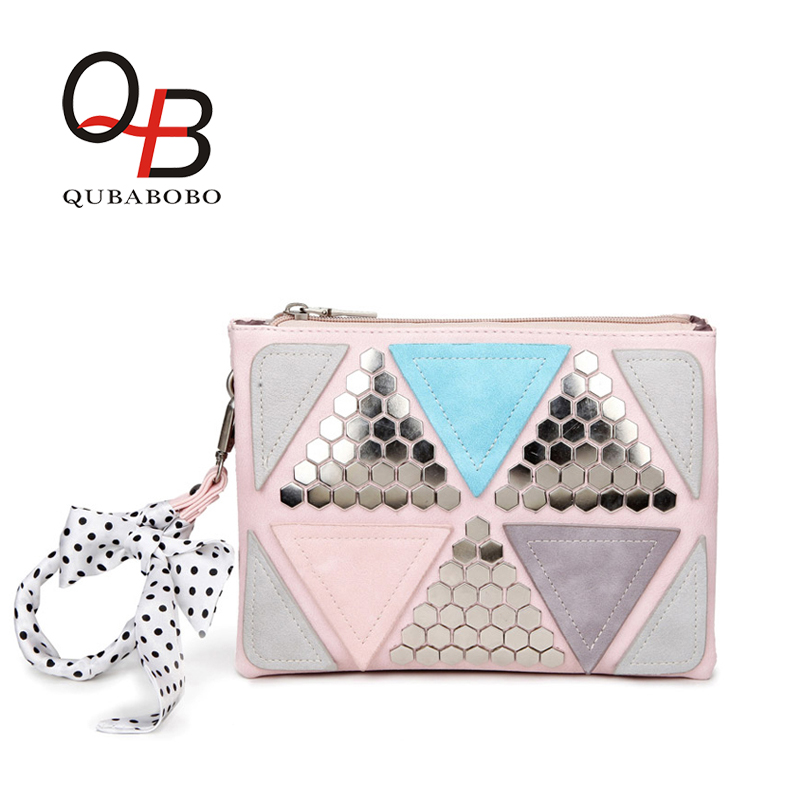 QUBABOBO Candy Color Women Leather Handbags Patchwork Triangle Sequined Teenage Girls Wristlets Crossbody Bag Clutch With Ribbon