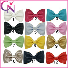 """3"""" Small Leather Hair Bows Solid Hair Bow For Girls Mini Leather Hair Accessories With Alligator Clip(China (Mainland))"""