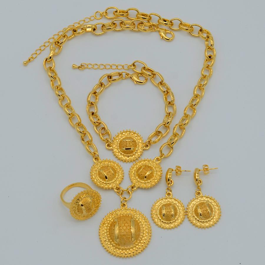 latest eritrea ethiopian wedding set habesha gold plated 22k Pendant Necklace/Earrings/Ring/Bracelet African Jewelry sets Party(China (Mainland))
