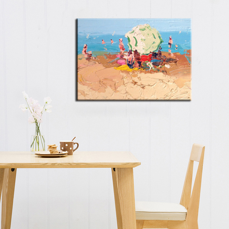 High Quality Best Price Impressionists Oil Painting Abstract Beach Landscape On Canvas For Home Decoration Free Shipping(China (Mainland))